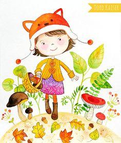"""Illustration / Kinderbild """"Mädchen mit Pilzen"""" von Doro Kaiser"""