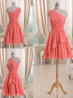 Watermelon Chiffon with Ruffles Trendy Short/Mini One Shoulder Bridesmaid Dress…