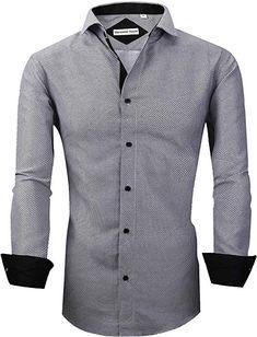 Rrive Mens Zipper Plain Collared Long Sleeve Regular Fit Casual Button Up Shirts
