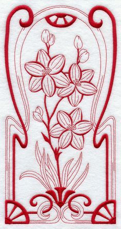 Australiano Art Nouveau Blu Squill (Redwork)