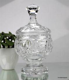 Vintage Pinwheel Cut Crystal Glass Pedestal Lidded Candy Dish