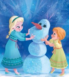 anna and elsa and olaf