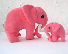 TOY stuffed animals elephants set of 2 - mommy and baby XL plush toys - Petaluma and Petunia in bright fuschia pink for modern kids