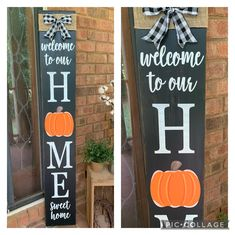 Thanksgiving Decorations, Seasonal Decor, Christmas Porch, Christmas Ideas, Diy Headboards, Porch Signs, Fall Wood Signs, Wooden Welcome Signs, Home Porch