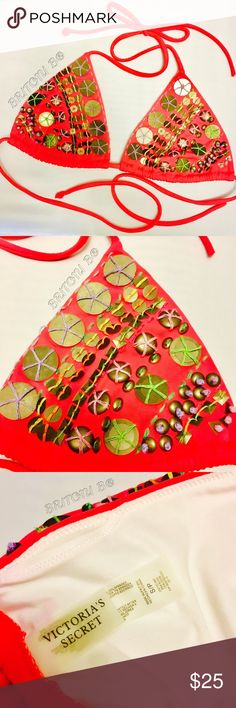Victoria Secret 👙 Triangle Bikini Top Coral Pink Triangle Top with Brushed Gold Embellishments.  Great Condition.  Lined.  Includes padding.    ⓜⓐⓚⓔ ⓜⓔ ⓐⓝ ⓞⓕⓕⓔⓡ! Victoria's Secret Swim Bikinis
