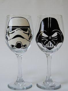 Star Wars Stormtrooper Darth Vader 21 oz Wine Glasses Set of 2