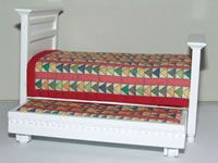Flying Geese Quilt Doll House Quilt---7 x 7 inches and trundle bed!