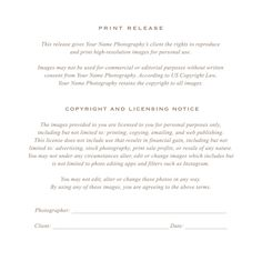 Free gift certificate template for photographers photography photographer print release form by bittersweetdesignboutique on creative market yadclub