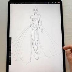 Fashion Model Sketch, Fashion Design Sketchbook, Fashion Design Portfolio, Fashion Design Drawings, Fashion Sketches, Fashion Figure Drawing, Drawings Pinterest, Fashion Illustration Dresses, Fashion Design Template