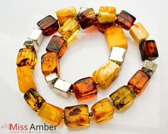 Exclusive Necklace ~ 100% Natural Multicolor Baltic Amber Rectangle Beads 78.6g #HandMadebyMissAmber