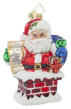 Christopher Radko 'Rooftop Checklist' Santa Ornament available at Radko Christmas Ornaments, Retro Christmas Tree, Old World Christmas, Santa Ornaments, Ornaments Design, Old Fashioned Christmas, Merry Christmas And Happy New Year, Vintage Ornaments, Glass Ornaments