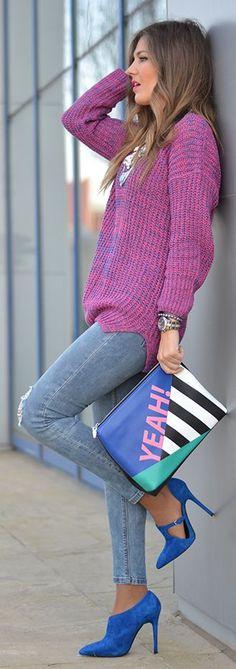 Pink And Blue Color Blocking Winter Outfit by Mi Aventura Con La Moda