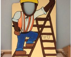 2 Construction birthday Photo Props Wooden by LittleGoobersParty