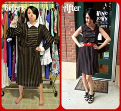 I need to learn how to sew... $1 thrift shop dress into awesome outfit!!