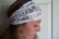 Wide Beautiful White Lace Headband by tayleredforyou on Etsy, $12.00
