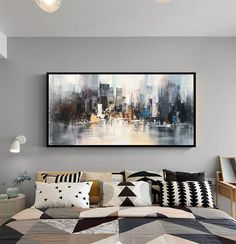 New York Painting, Oil Painting On Canvas, Painting Art, Your Paintings, Beautiful Paintings, Original Paintings, Art Noir, Large Canvas Art, Texture Design