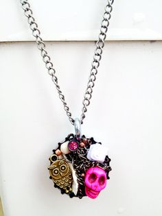 Adorable owl/skull necklace