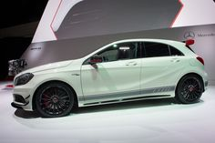 Mercedes-Benz A 45 AMG Edition 1 (W176) Fuel consumption combined: 7,1-3,6 l/100 km,  CO2-emissions combined 165-92 (g/km) #mbhess #mbcars #mbaclass