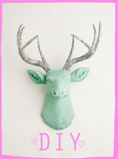 The Agnes - Seafoam Green W/ Silver Glitter Antlers Resin Deer Head- Stag Resin White Faux Taxidermy from WhiteFauxTaxidermy on Etsy. Saved to White Faux.