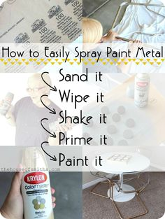 Metallic painted furniture - Chrome Chairs go Gold & A Game Table + How to Spray Paint Metal – Metallic painted furniture Painted Metal Chairs, Metallic Painted Furniture, Metallic Spray Paint, Spray Painting Metal, How To Paint Metal, How To Spray Paint, Painting Metal Cabinets, Chrome Spray Paint, Spray Paint Frames