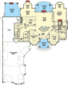 Plan Luxury-filled House Plan with Upstairs Game and Theater Rooms- . - Plan Luxury-filled House Plan with Upstairs Game and Theater Rooms- Filled with Luxury - # Dream House Plans, House Floor Plans, Dream Houses, Architectural Design House Plans, Architecture Design, Master Room, Master Suite, 4 Season Room, Dining Room Office