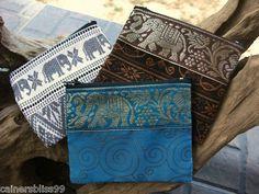 Set Of 3 Cotton Zip Coin Purse Wallet Elephant Flower Print Boho Hippie