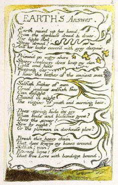 "Songs of Innocence and of Experience, object 32 (Bentley 31, Erdman 31, Keynes 31) ""Earth's Answer"" (copy A, 1795, British Museum, London)"