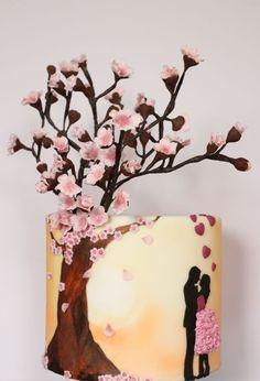 Blossom Love silhouette cake