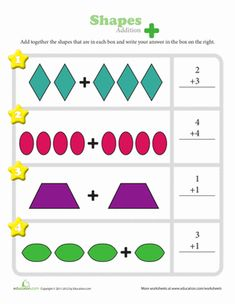 Add the different types of shapes in each box to solve the simple addition problems. Shapes Worksheets, Addition Worksheets, Printable Math Worksheets, Kindergarten Learning, Kindergarten Math Worksheets, Mickey Coloring Pages, Teacher Education, Special Education, Addition And Subtraction Practice