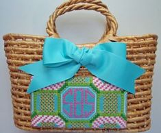 Needlepoint Basket Purse - great idea for a small canvas.