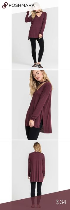 Charlie Choker Long Sleeve Top - Burgundy Comfortably casual and flowy for your Fall and Winter outfits. Make an edgy statement with the choker neckline, long sleeves, side slits and loose fit.  Model is wearing a Small. (Also available in Moss and Black)  77% RAYON 18%POLYESTER 5% SPANDEX . . . If you would like to make an offer, please use the OFFER BUTTON. {10% discount on all 2+ orders} . . FOLLOW US✌🏽️ Insta 📸: @likenarly Facebook📱: likenarly Website 🌐: likeNarly.com likeNarly Tops
