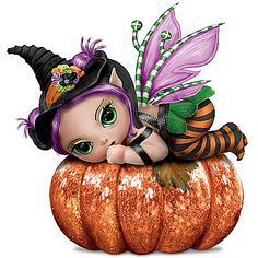 Baby fairy dolls by artist Jasmine Becket-Griffith show off their Halloween costumes atop charming displays. Real fabric, glitter, and more. Halloween Fairy, Halloween Ii, Halloween Costumes, Halloween Clipart, Fairy Figurines, Fairy Statues, Fairy Pictures, Gothic Fairy, Baby Fairy