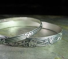 Garden Gate - set of 2 sterling silver bangles... from LavenderCottage on Etsy