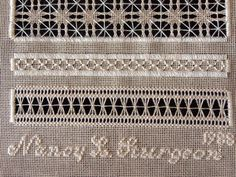 Threads Through Time: pulled thread/whitework samplers Drawn Thread, Thread Work, Hardanger Embroidery, Hand Embroidery, Lace Making, Bobbin Lace, Embroidery Techniques, Needlepoint, Hand Sewing