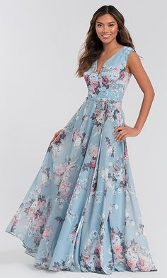 Image of floral-print faux-wrap Kleinfeld bridesmaid dress. Printed Bridesmaid Dresses, Beautiful Bridesmaid Dresses, Beautiful Dresses, Printed Dresses, Mob Dresses, Fashion Dresses, Formal Dresses, Long Floral Dresses, Floral Chiffon Maxi Dress