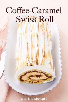 Coffee-Caramel Swiss Roll In this elegant buche de noel, sponge cake is brushed with espresso syrup, filled with caramel, and swathed in seven-minute frosting. For the finishing touch, the snowy white Köstliche Desserts, Delicious Desserts, Dessert Recipes, Swiss Desserts, Dessert Food, Cupcakes, Cupcake Cakes, Strawberry Roll Cake, Swiss Roll Cakes
