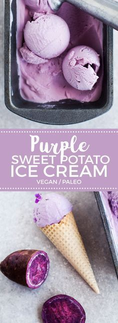 Coconut & Purple Sweet Potato Ice Cream #vegan #eatclean