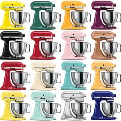 colorful kitchen aid mixers - they are a marvel in any color.