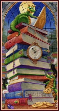 """""""So Many Books So Little Time"""" counted cross-stitch pattern by Randal Spangler (original art) and Heaven and Earth Designs ( Randal, And So It Begins, Earth Design, Cute Dragons, I Love Books, Sword And Sorcery, So Little Time, Cross Stitching, Book Worms"""