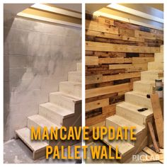 Use Pallets To Update A Cinder Block Wall And Add Interest To Man Cave! Used