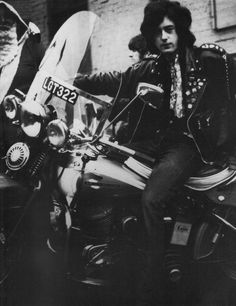 Jimmy Page (Led Zeppelin) with a Harley-Davidson