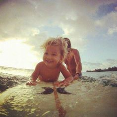 Never too early to start surfing :) adorable!!