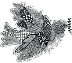 Some information on Zentangles. I love this dove with the words on it.
