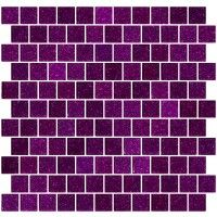 1 Inch Purple Violet Glitter Glass Tile Reset In Offset Layout