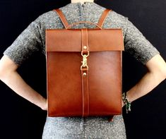 Leather backpack laptop bag cognac handmade in door EcoCollectiveAus