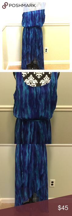 Beautiful hi-low dress in blues and purples. Beautiful fabric! Sleeveless. Matching cord belting with tassels on ends. Hi low with blousing on top. Very pretty dress! MSK Dresses