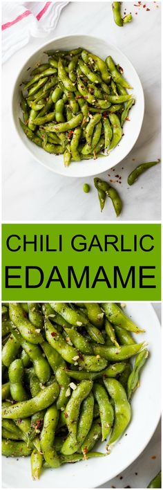 Chili Garlic Edamame - only 4 ingredients and 10 min from start to finish | littlebroken.com @littlebroken