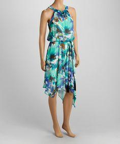 Another great find on #zulily! Blue Floral Crinkle Chiffon Yoke Dress - Women & Plus by Scarlett #zulilyfinds