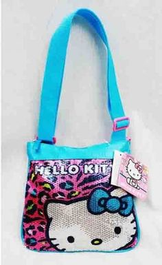 Hello Kitty Cross Body Purse Leopard Blue Girls Hand Bag Kids Fashion  Accessory  HelloKitty Girls 29fbc18eca943