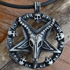 BIG Baphomet Goat Laveyan Inverted Star Pentacle Satanic Devil Pewter Pendant #Unbranded #Pendant
